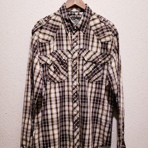 Affliction Western Pearl Snap Shirt Size XL